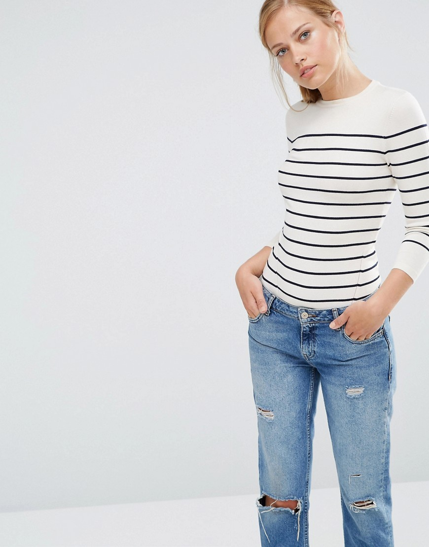 Bretton Stripe Crew Jumper Cream And Navy - pattern: horizontal stripes; style: standard; secondary colour: ivory/cream; predominant colour: navy; occasions: casual, creative work; length: standard; fit: standard fit; neckline: crew; sleeve length: 3/4 length; sleeve style: standard; texture group: knits/crochet; pattern type: knitted - fine stitch; fibres: viscose/rayon - mix; pattern size: big & busy (top); season: s/s 2016; wardrobe: highlight