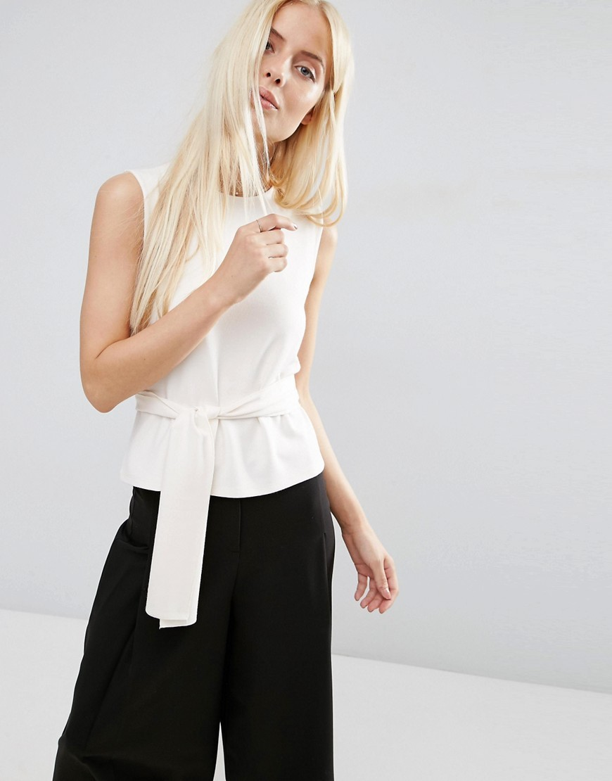 Top In Ponte With Obi Tie Stone - pattern: plain; sleeve style: sleeveless; waist detail: belted waist/tie at waist/drawstring; predominant colour: white; occasions: casual; length: standard; style: top; fibres: viscose/rayon - stretch; fit: body skimming; neckline: crew; sleeve length: sleeveless; pattern type: fabric; texture group: jersey - stretchy/drapey; season: s/s 2016; wardrobe: basic