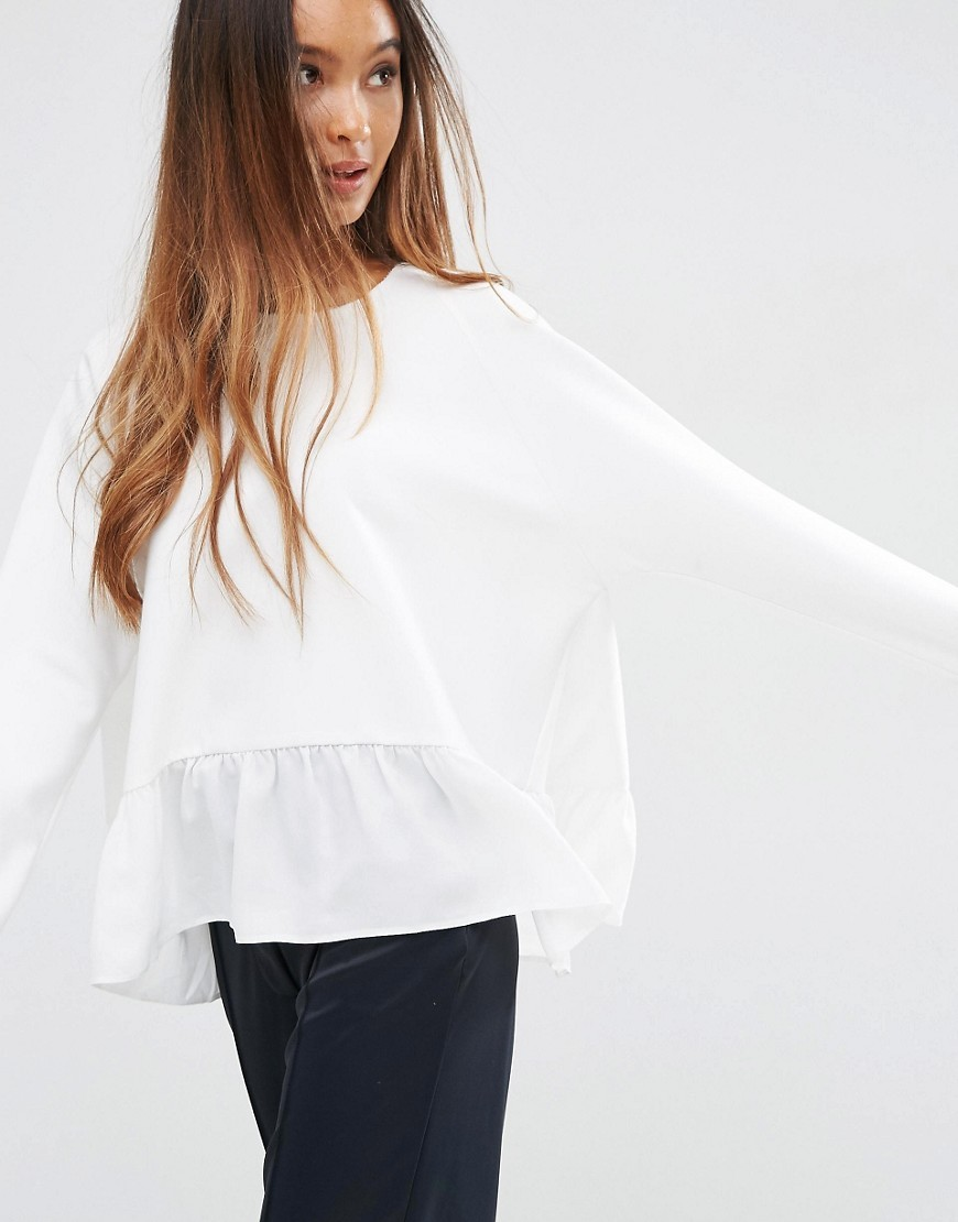 Oversized Sweat With Sheer Ruffle Hem & Raw Edge Ivory - neckline: round neck; pattern: plain; style: sweat top; predominant colour: white; occasions: casual, creative work; length: standard; fibres: polyester/polyamide - mix; fit: loose; sleeve length: long sleeve; sleeve style: standard; pattern type: fabric; texture group: jersey - stretchy/drapey; season: s/s 2016; wardrobe: basic