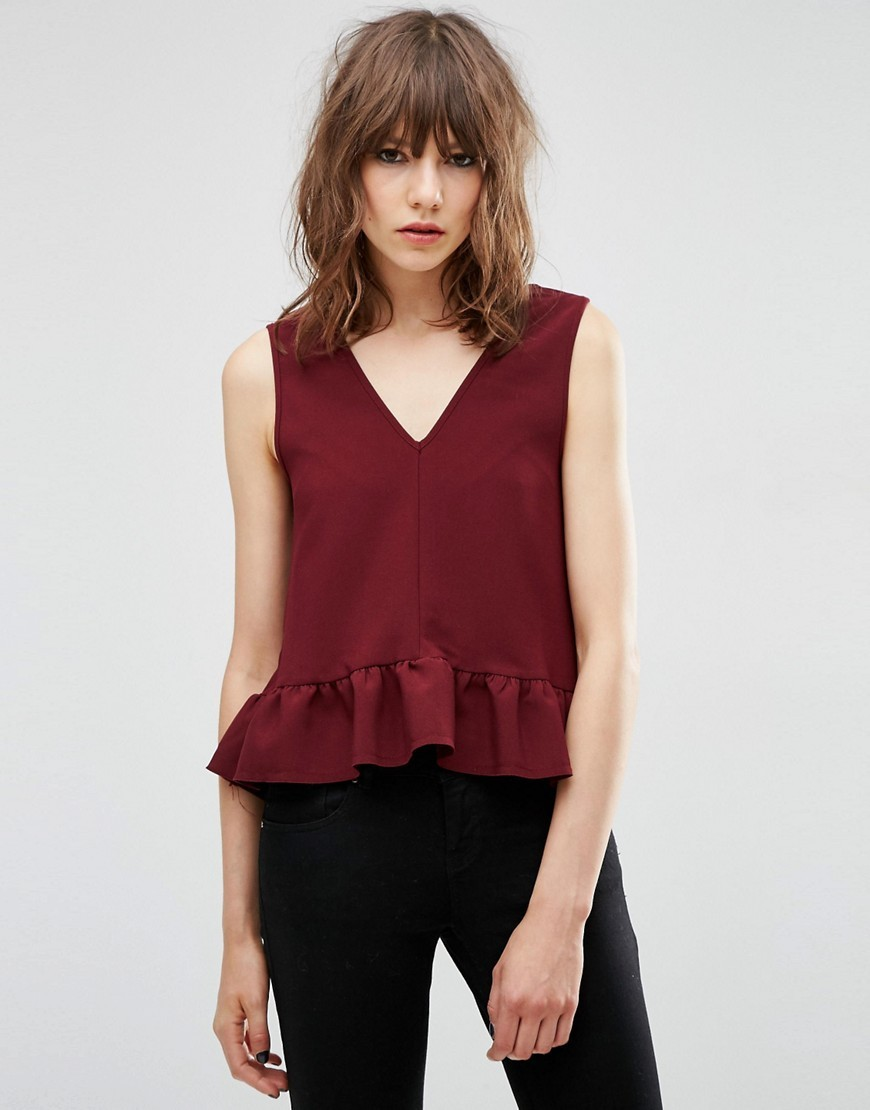 Dip Hem Ruffle Vest With Raw Edge Wine - neckline: v-neck; pattern: plain; sleeve style: sleeveless; predominant colour: burgundy; occasions: casual, creative work; length: standard; style: top; fibres: polyester/polyamide - mix; fit: body skimming; sleeve length: sleeveless; texture group: cotton feel fabrics; pattern type: fabric; season: s/s 2016; wardrobe: highlight