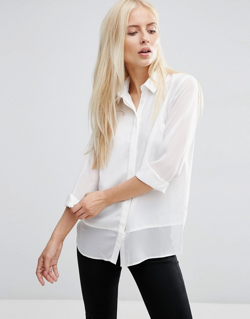Sheer & Solid Crepe Blouse Ivory - neckline: shirt collar/peter pan/zip with opening; pattern: plain; style: blouse; predominant colour: ivory/cream; occasions: casual, creative work; length: standard; fibres: polyester/polyamide - 100%; fit: straight cut; sleeve length: 3/4 length; sleeve style: standard; texture group: cotton feel fabrics; pattern type: fabric; season: s/s 2016; wardrobe: basic