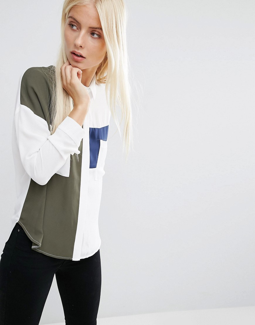 Colour Block Pocket Detail Blouse Ivory/Khaki/Navy - neckline: round neck; length: below the bottom; style: t-shirt; secondary colour: white; predominant colour: khaki; occasions: casual, creative work; fibres: polyester/polyamide - 100%; fit: body skimming; sleeve length: long sleeve; sleeve style: standard; pattern type: fabric; pattern size: light/subtle; pattern: colourblock; texture group: jersey - stretchy/drapey; season: s/s 2016; wardrobe: highlight