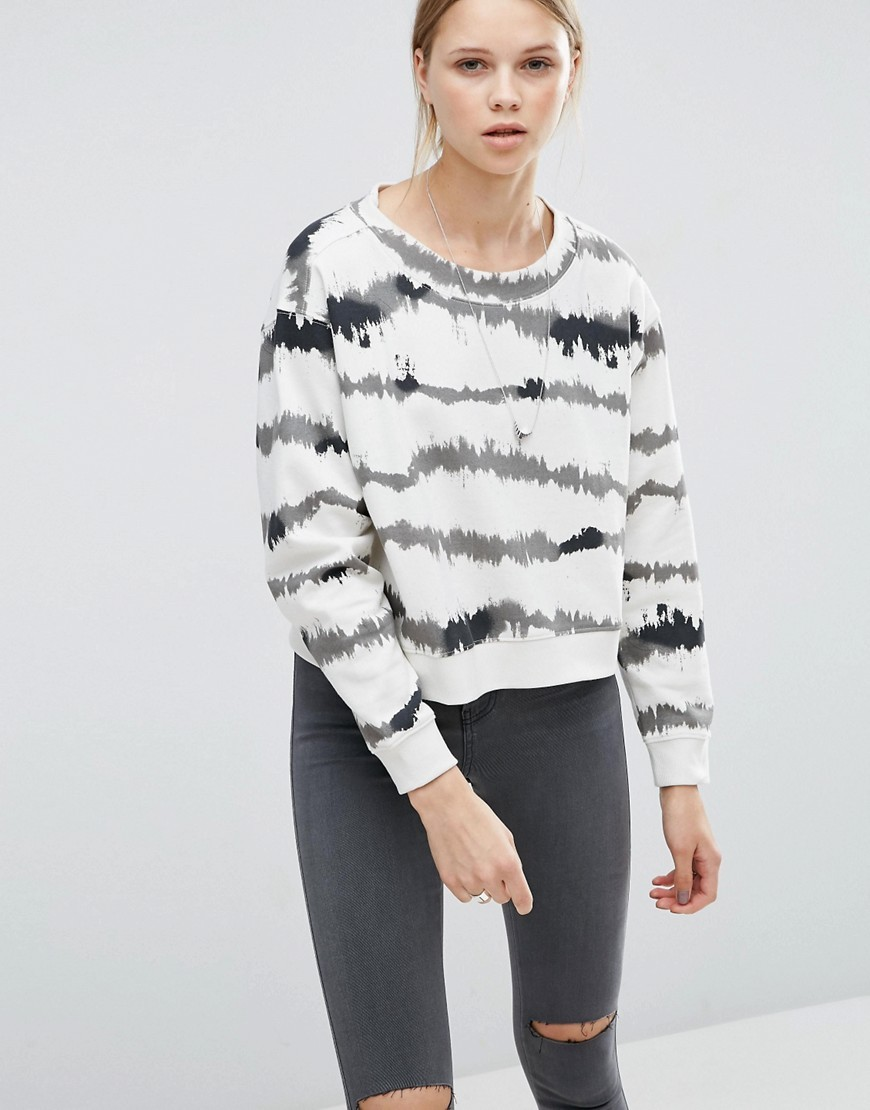 Expand Sweater In Nuclear Stripe White - pattern: horizontal stripes; style: standard; predominant colour: white; secondary colour: black; occasions: casual; length: standard; fibres: polyester/polyamide - mix; fit: loose; neckline: crew; sleeve length: long sleeve; sleeve style: standard; pattern type: fabric; texture group: jersey - stretchy/drapey; multicoloured: multicoloured; season: s/s 2016; wardrobe: highlight