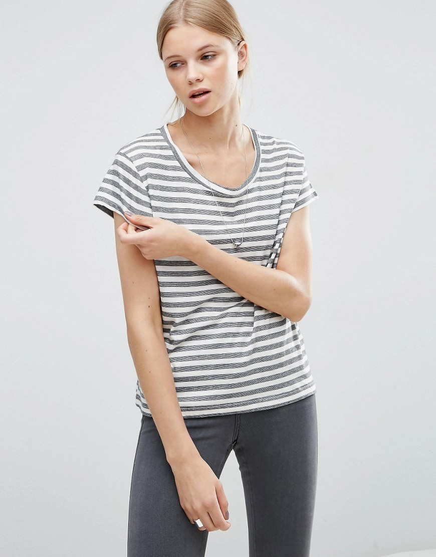 Have Multistripe T Shirt White - pattern: horizontal stripes; style: t-shirt; predominant colour: white; secondary colour: mid grey; occasions: casual; length: standard; fibres: viscose/rayon - 100%; fit: body skimming; neckline: crew; sleeve length: short sleeve; sleeve style: standard; pattern type: fabric; texture group: jersey - stretchy/drapey; multicoloured: multicoloured; season: s/s 2016