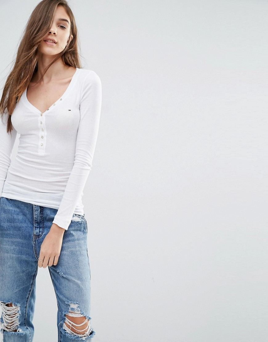 Hilfiger Lola Henley White - neckline: low v-neck; pattern: plain; predominant colour: white; occasions: casual; length: standard; style: top; fibres: cotton - mix; fit: tight; sleeve length: long sleeve; sleeve style: standard; pattern type: fabric; texture group: jersey - stretchy/drapey; season: s/s 2016; wardrobe: basic