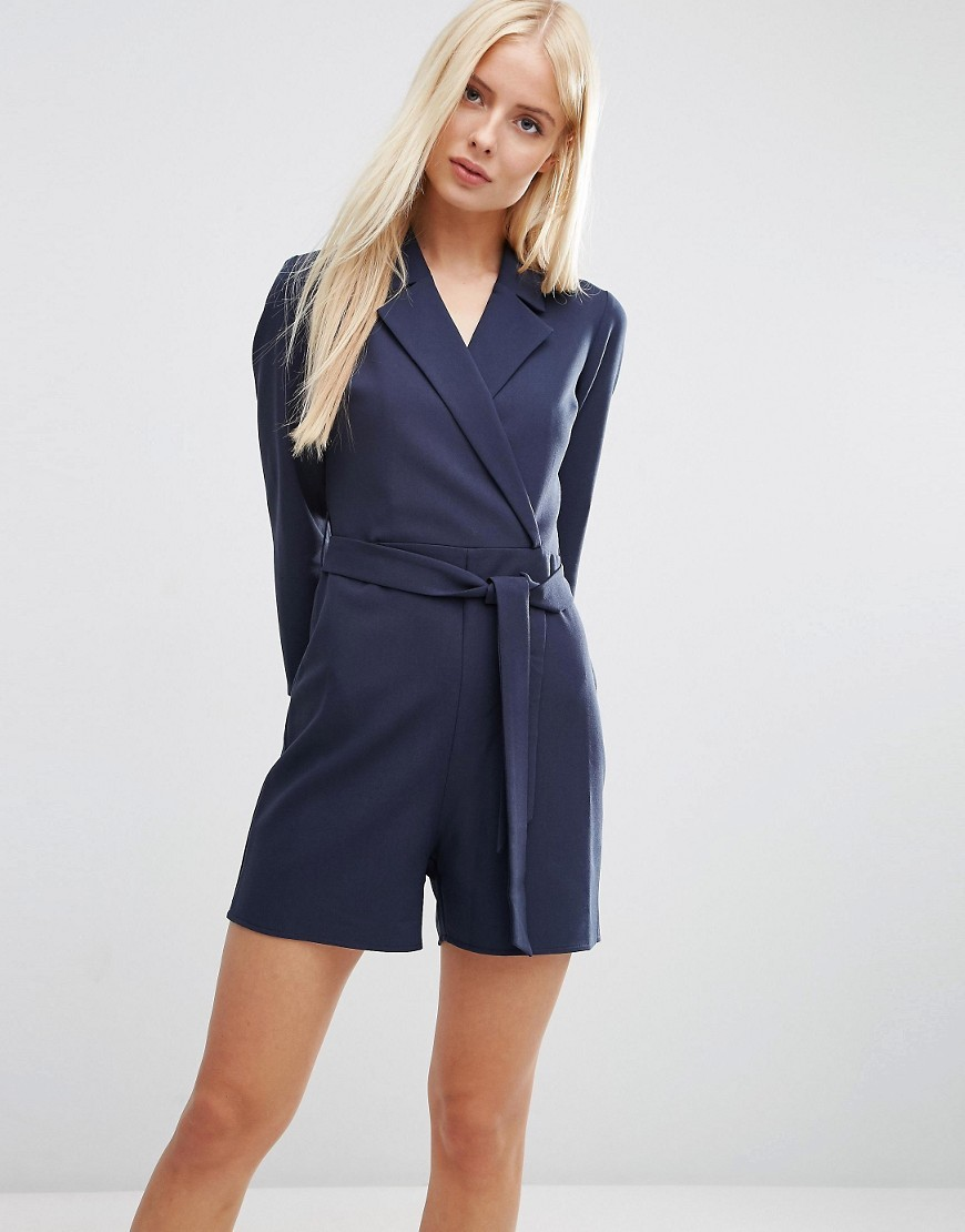 Shirt Wrap Playsuit Navy - neckline: shirt collar/peter pan/zip with opening; fit: tailored/fitted; pattern: plain; waist detail: belted waist/tie at waist/drawstring; length: short shorts; predominant colour: navy; occasions: evening; fibres: polyester/polyamide - stretch; sleeve length: long sleeve; sleeve style: standard; style: playsuit; pattern type: fabric; texture group: other - light to midweight; season: s/s 2016