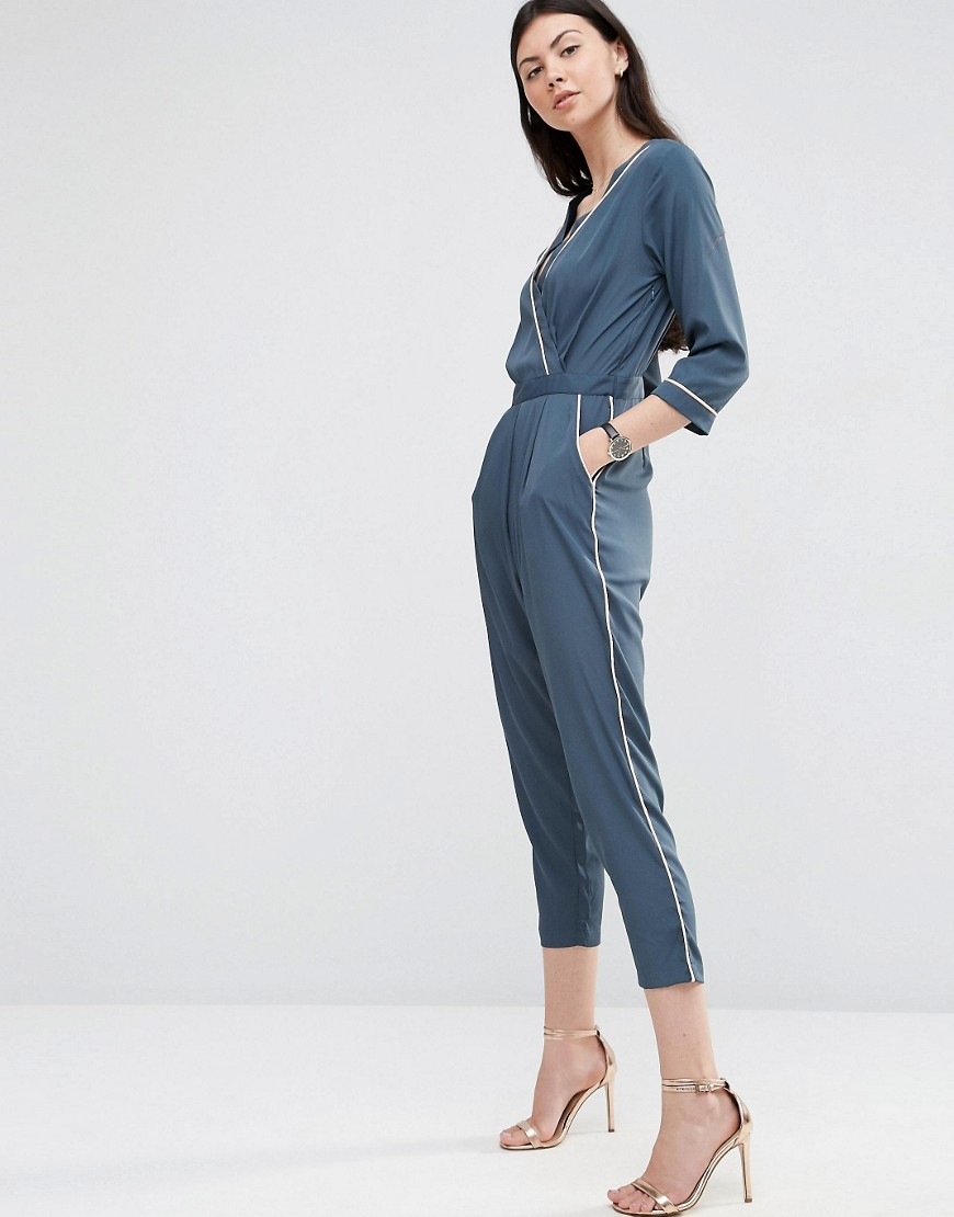 Pyjama Wrap Jumpsuit With Peg Leg And Contrast Piping Grey - neckline: low v-neck; fit: tailored/fitted; pattern: plain; waist detail: fitted waist; predominant colour: denim; occasions: evening; length: calf length; fibres: polyester/polyamide - 100%; sleeve length: 3/4 length; sleeve style: standard; style: jumpsuit; pattern type: fabric; texture group: other - light to midweight; season: s/s 2016; wardrobe: event