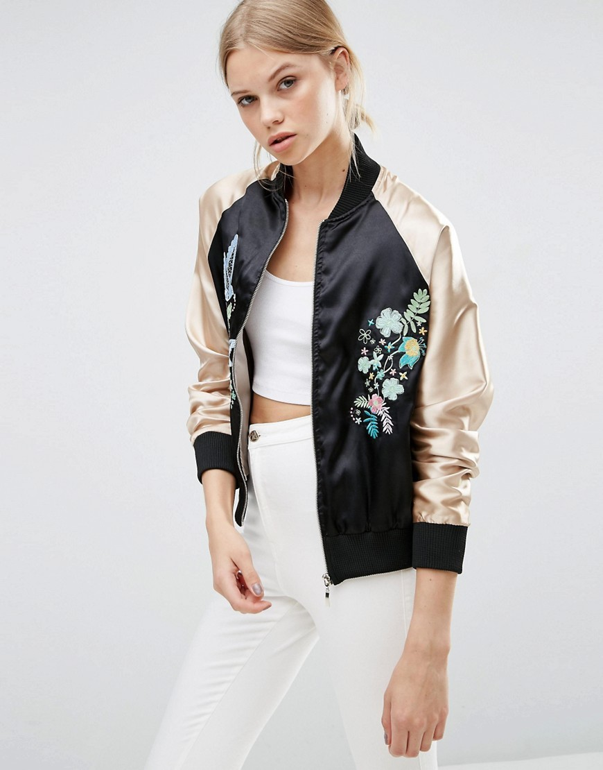 Embroidered Bomber Jacket Black/Pink - collar: round collar/collarless; fit: slim fit; style: bomber; secondary colour: gold; predominant colour: black; occasions: casual, evening, creative work; length: standard; fibres: polyester/polyamide - 100%; sleeve length: long sleeve; sleeve style: standard; texture group: structured shiny - satin/tafetta/silk etc.; collar break: high; pattern type: fabric; pattern: colourblock; embellishment: embroidered; season: s/s 2016