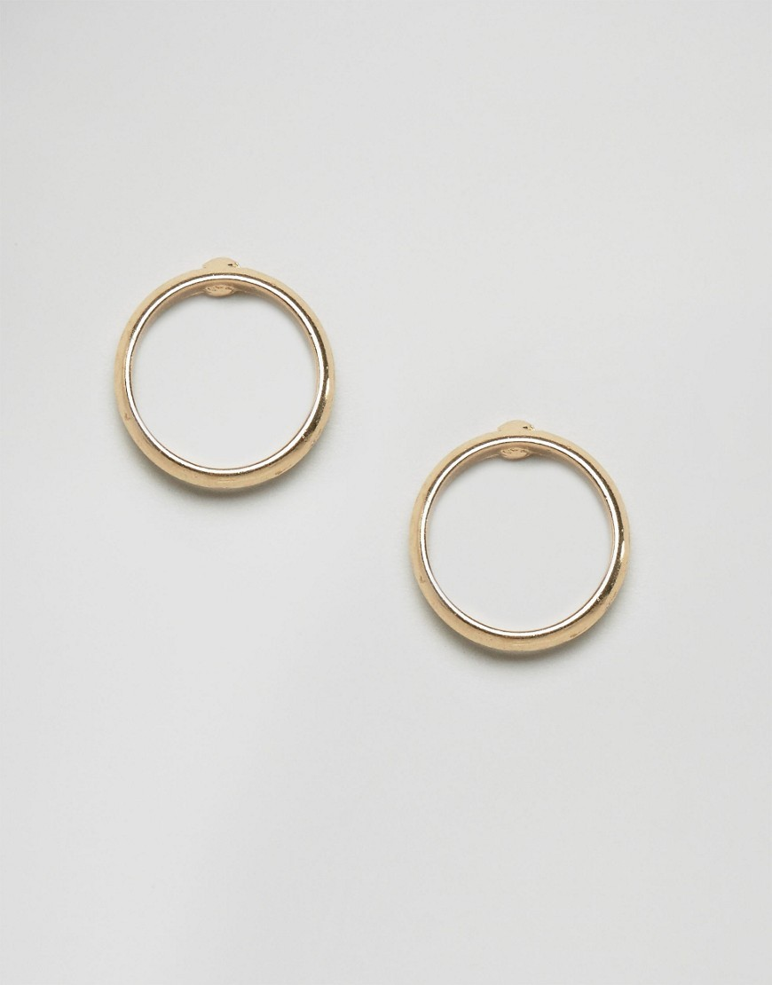Sleek Circle Stud Earrings Gold - predominant colour: gold; occasions: casual, work, creative work; style: hoop; length: short; size: small/fine; material: chain/metal; fastening: pierced; finish: metallic; season: s/s 2016