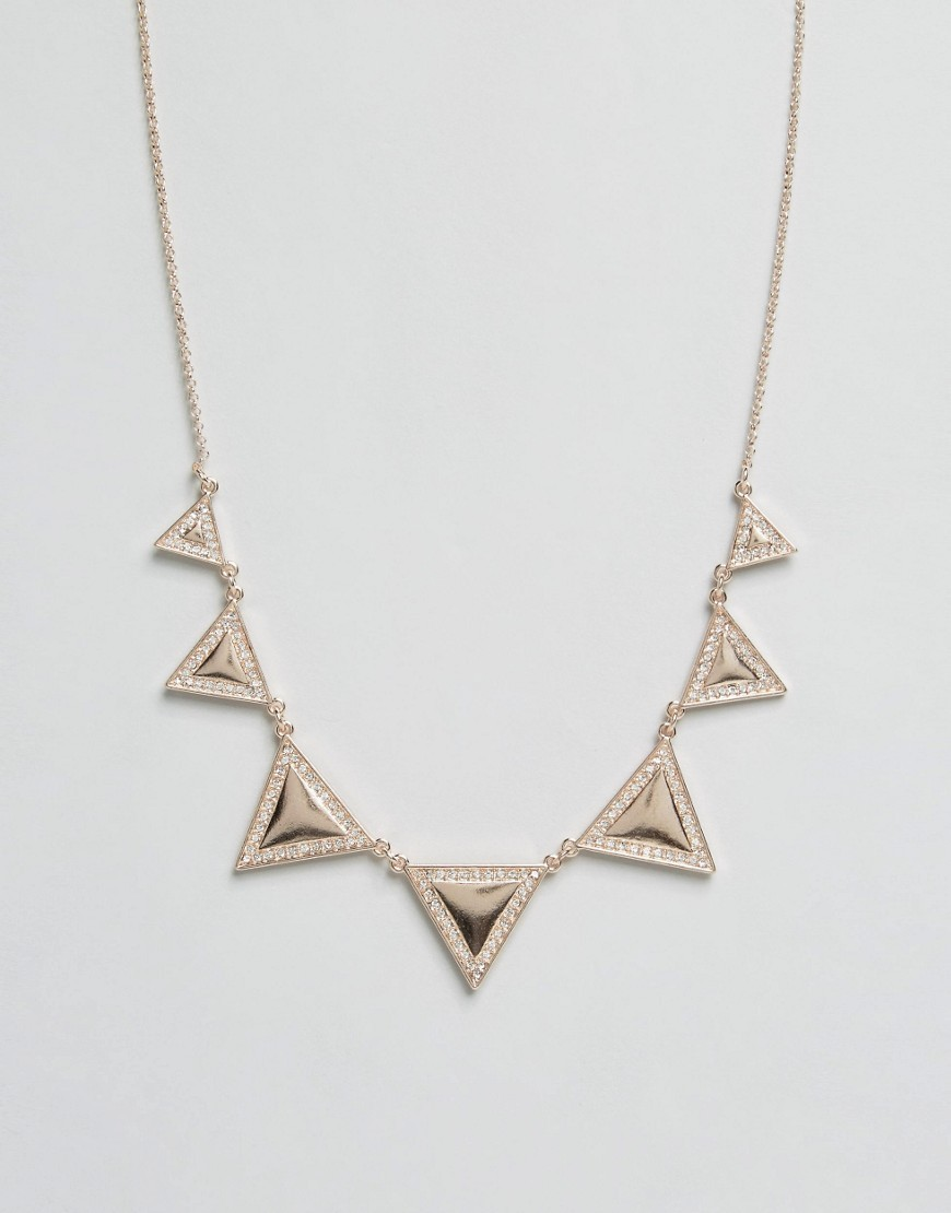 Pave Triangle Collar Gold - predominant colour: gold; occasions: evening, occasion; style: choker/collar/torque; length: mid; size: large/oversized; material: chain/metal; finish: metallic; season: s/s 2016; wardrobe: event