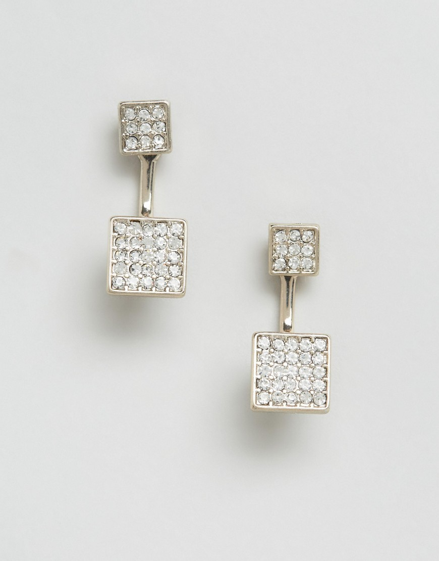 Pave Square Through & Through Earrings Gold - predominant colour: silver; occasions: evening, occasion; style: drop; length: mid; size: standard; material: chain/metal; fastening: pierced; finish: metallic; embellishment: crystals/glass; season: s/s 2016; wardrobe: event