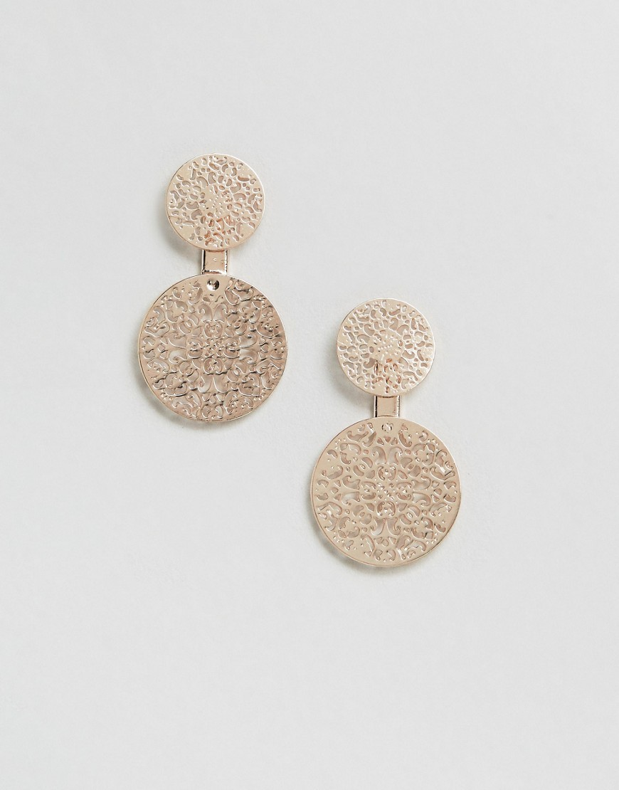 Rose Gold Filigree Through & Through Earrings Rose Gold - predominant colour: gold; occasions: evening, occasion, holiday; style: drop; length: mid; size: large/oversized; material: chain/metal; fastening: pierced; finish: metallic; season: s/s 2016; wardrobe: highlight