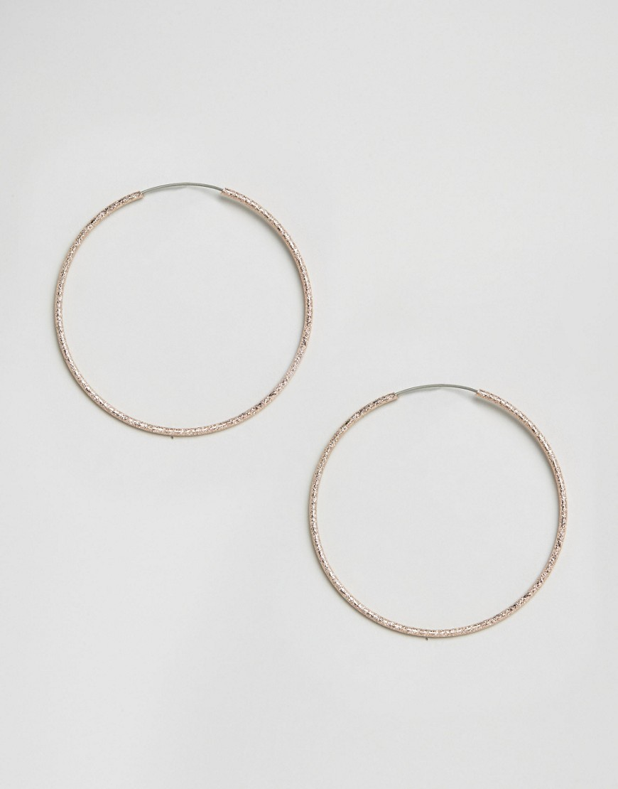 Sandblast Hoop Earrings Rose Gold - predominant colour: gold; occasions: evening; style: hoop; length: mid; size: standard; material: chain/metal; fastening: pierced; finish: metallic; season: s/s 2016; wardrobe: event