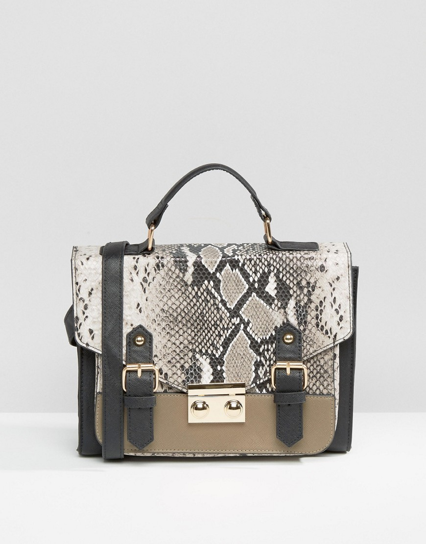 Snake Blocked Satchel Bag Mink - predominant colour: taupe; secondary colour: black; occasions: casual, creative work; type of pattern: standard; style: satchel; length: handle; size: standard; material: animal skin; pattern: animal print; finish: plain; season: s/s 2016; wardrobe: highlight