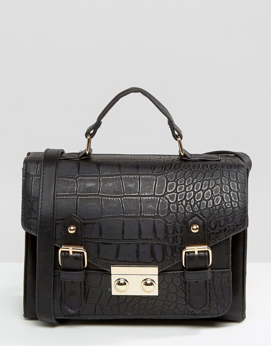 Croc Pushlock Satchel Bag Black - predominant colour: black; occasions: casual, creative work; type of pattern: standard; style: satchel; length: across body/long; size: standard; material: faux leather; pattern: plain; finish: plain; season: s/s 2016; wardrobe: basic