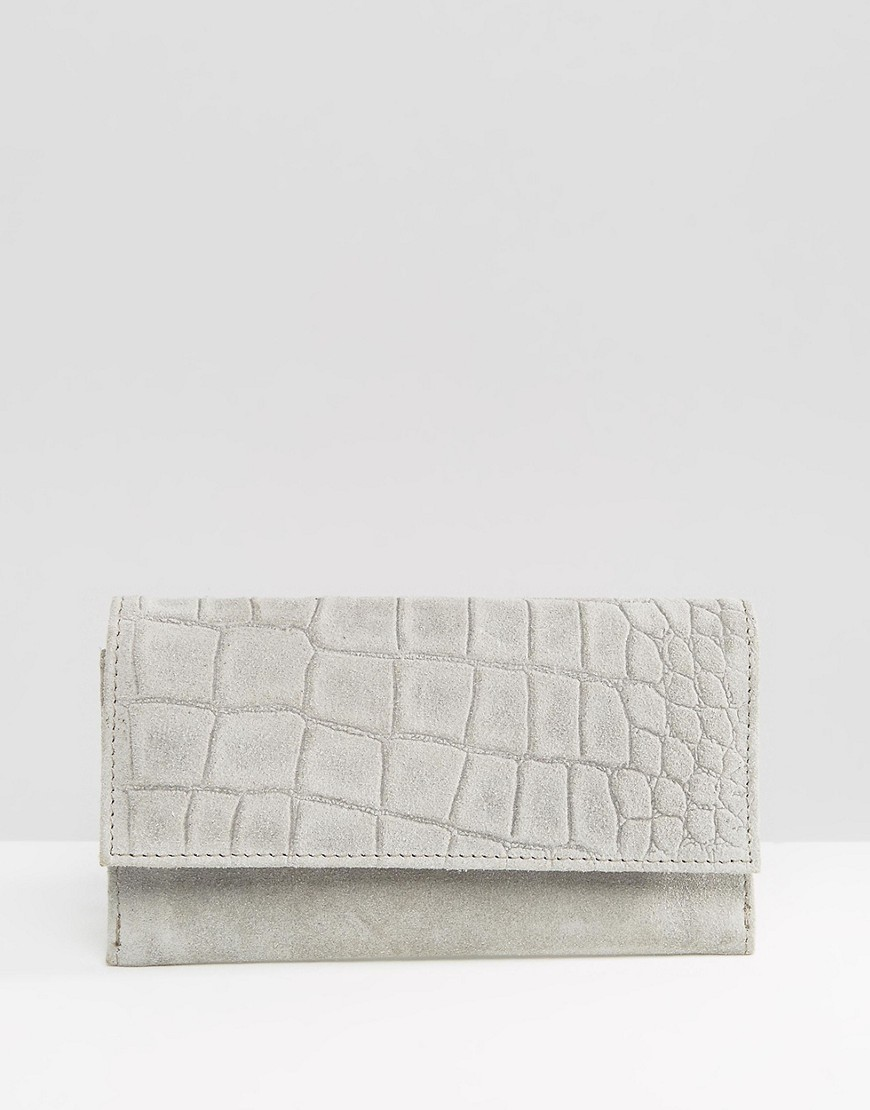 Suede Croc Foldover Purse Grey - predominant colour: mid grey; occasions: evening, occasion; type of pattern: standard; style: clutch; length: hand carry; size: standard; material: faux leather; pattern: plain; finish: plain; season: s/s 2016; wardrobe: event