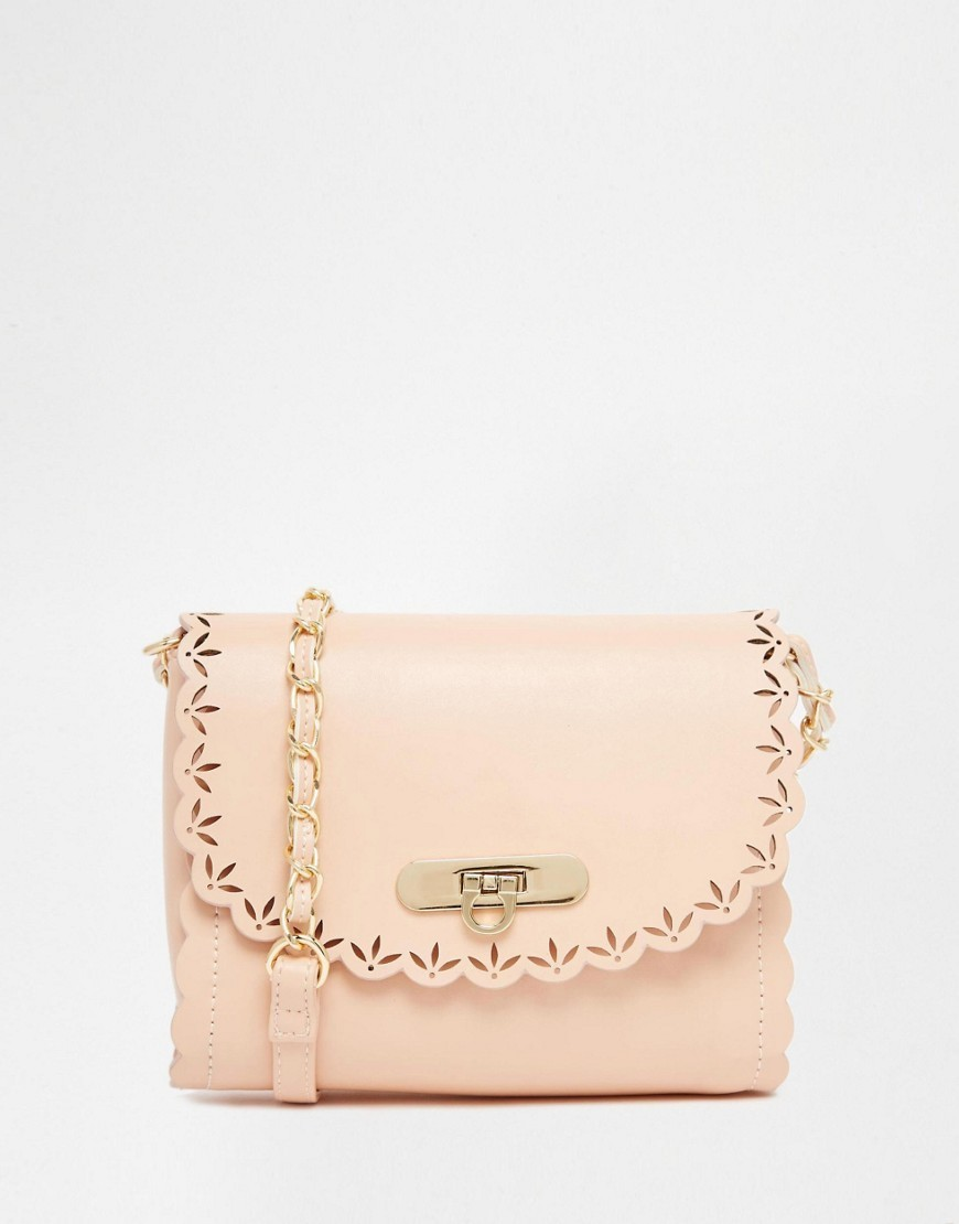 Scallop Cross Body Bag With Laser Cut Out Nude - predominant colour: nude; occasions: casual, creative work; type of pattern: standard; style: shoulder; length: across body/long; size: small; material: faux leather; pattern: plain; finish: plain; season: s/s 2016
