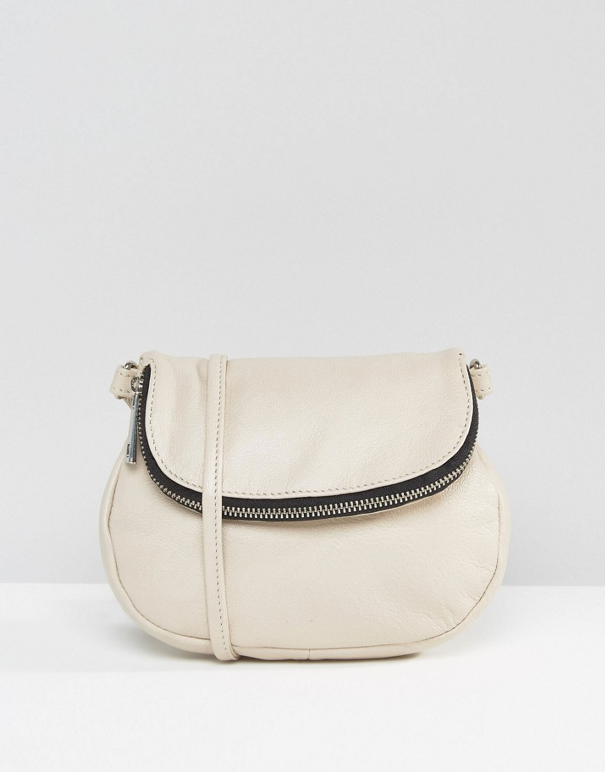 Zip Front Leather Cross Body Bag Cream - predominant colour: ivory/cream; occasions: casual, creative work; type of pattern: standard; style: satchel; length: across body/long; size: standard; material: leather; pattern: plain; finish: plain; season: s/s 2016; wardrobe: basic