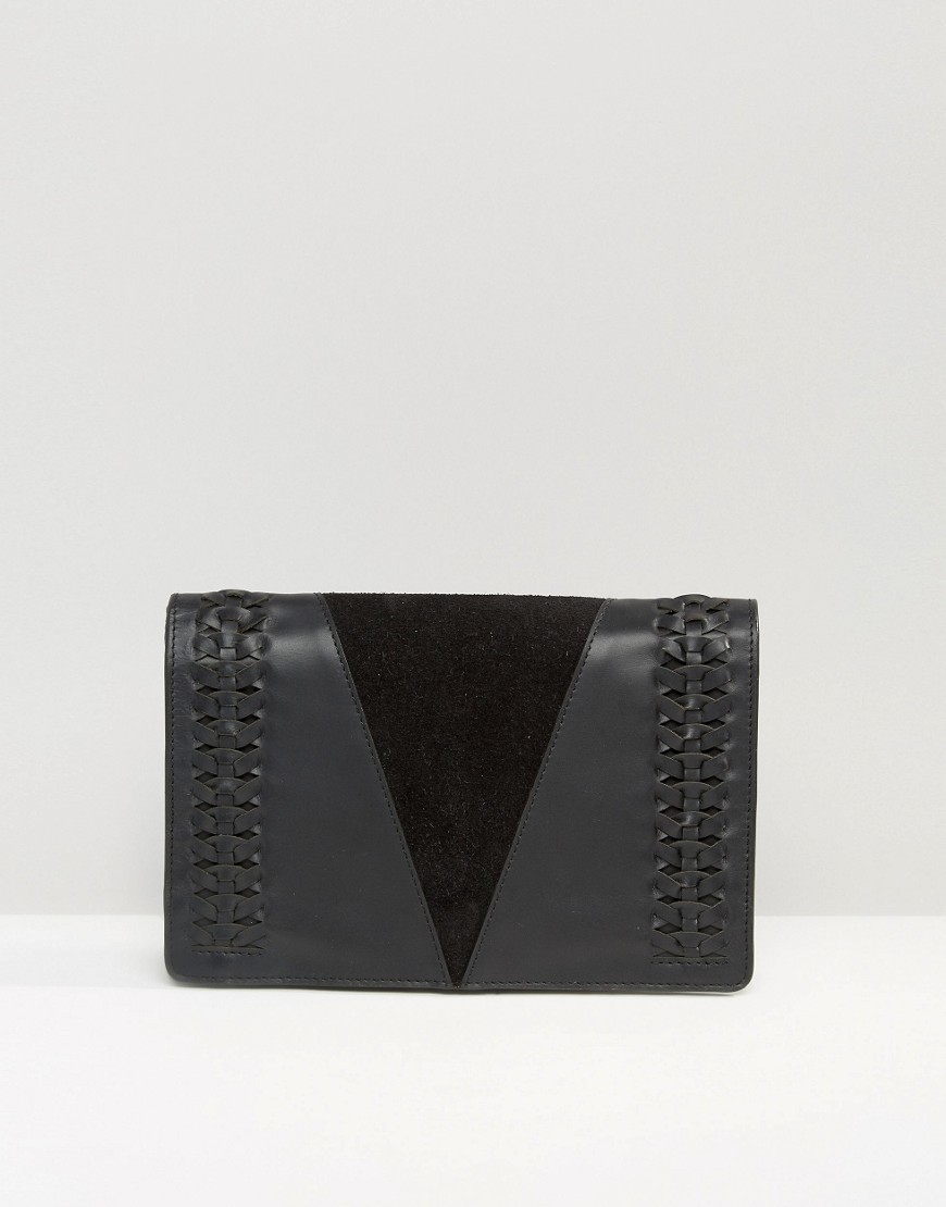 Woven Leather Clutch Bag Black - predominant colour: black; occasions: evening; type of pattern: standard; style: clutch; length: hand carry; size: standard; material: leather; pattern: plain; finish: plain; season: s/s 2016; wardrobe: event