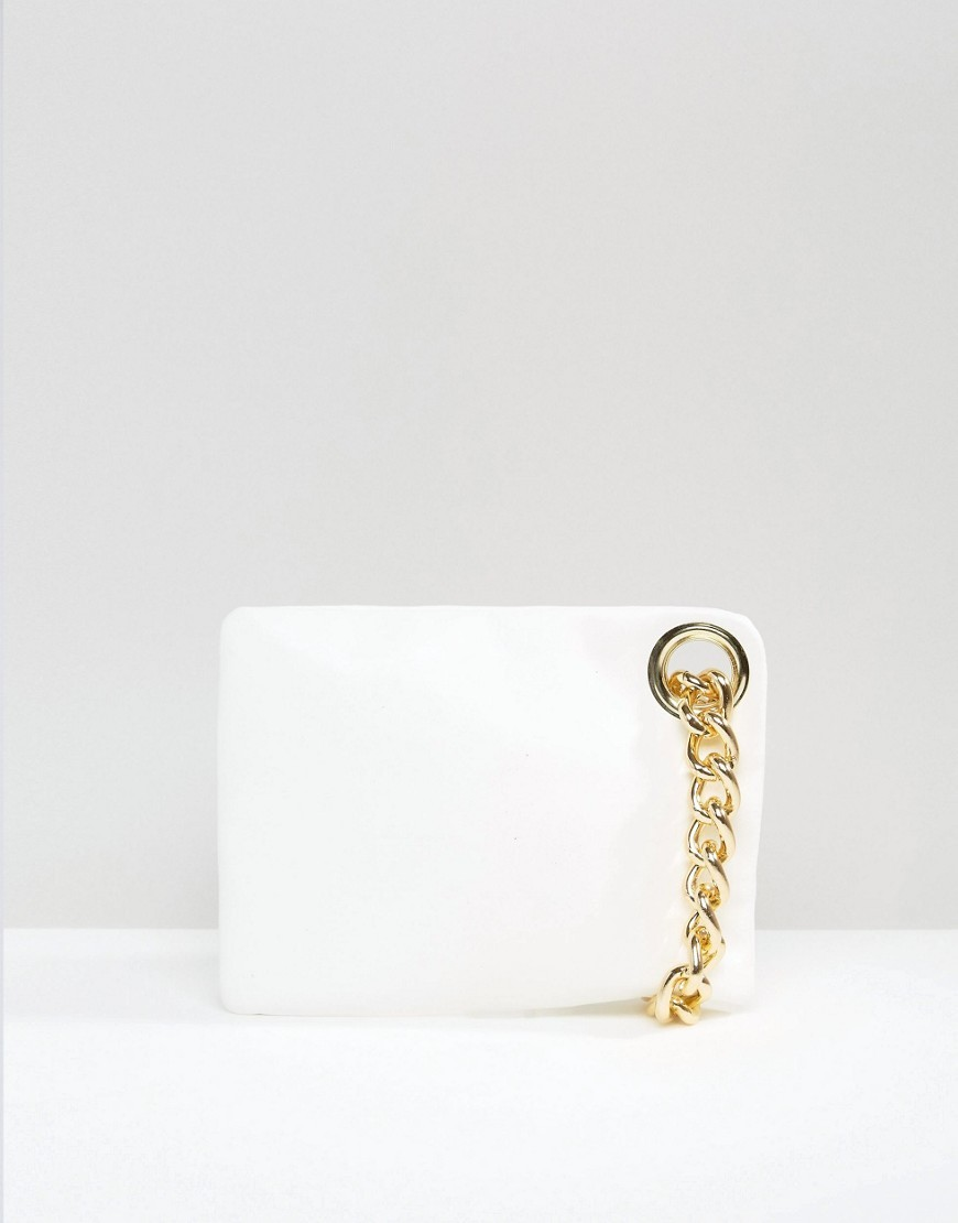 Chain Handle Clutch Bag White - predominant colour: white; secondary colour: gold; occasions: evening, occasion; type of pattern: standard; style: clutch; length: hand carry; size: standard; material: faux leather; pattern: plain; finish: plain; embellishment: chain/metal; season: s/s 2016; wardrobe: event
