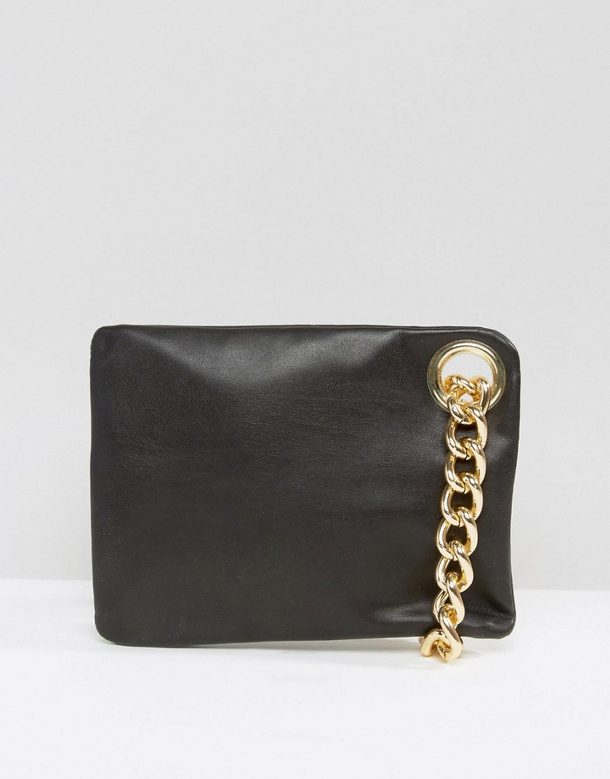 Chain Handle Clutch Bag Black - secondary colour: gold; predominant colour: black; occasions: evening, occasion; type of pattern: standard; style: clutch; length: hand carry; size: standard; material: faux leather; finish: plain; pattern: colourblock; embellishment: chain/metal; season: s/s 2016; wardrobe: event
