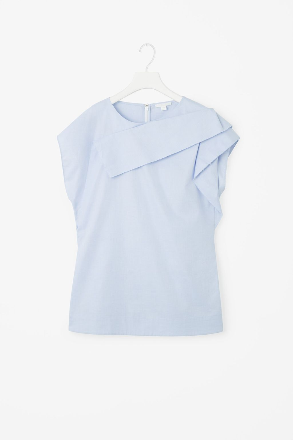 Folded Drape Top - sleeve style: capped; pattern: plain; length: below the bottom; predominant colour: pale blue; occasions: casual, creative work; style: top; fibres: cotton - 100%; fit: body skimming; neckline: crew; sleeve length: short sleeve; texture group: cotton feel fabrics; bust detail: bulky details at bust; pattern type: fabric; season: s/s 2016; wardrobe: highlight
