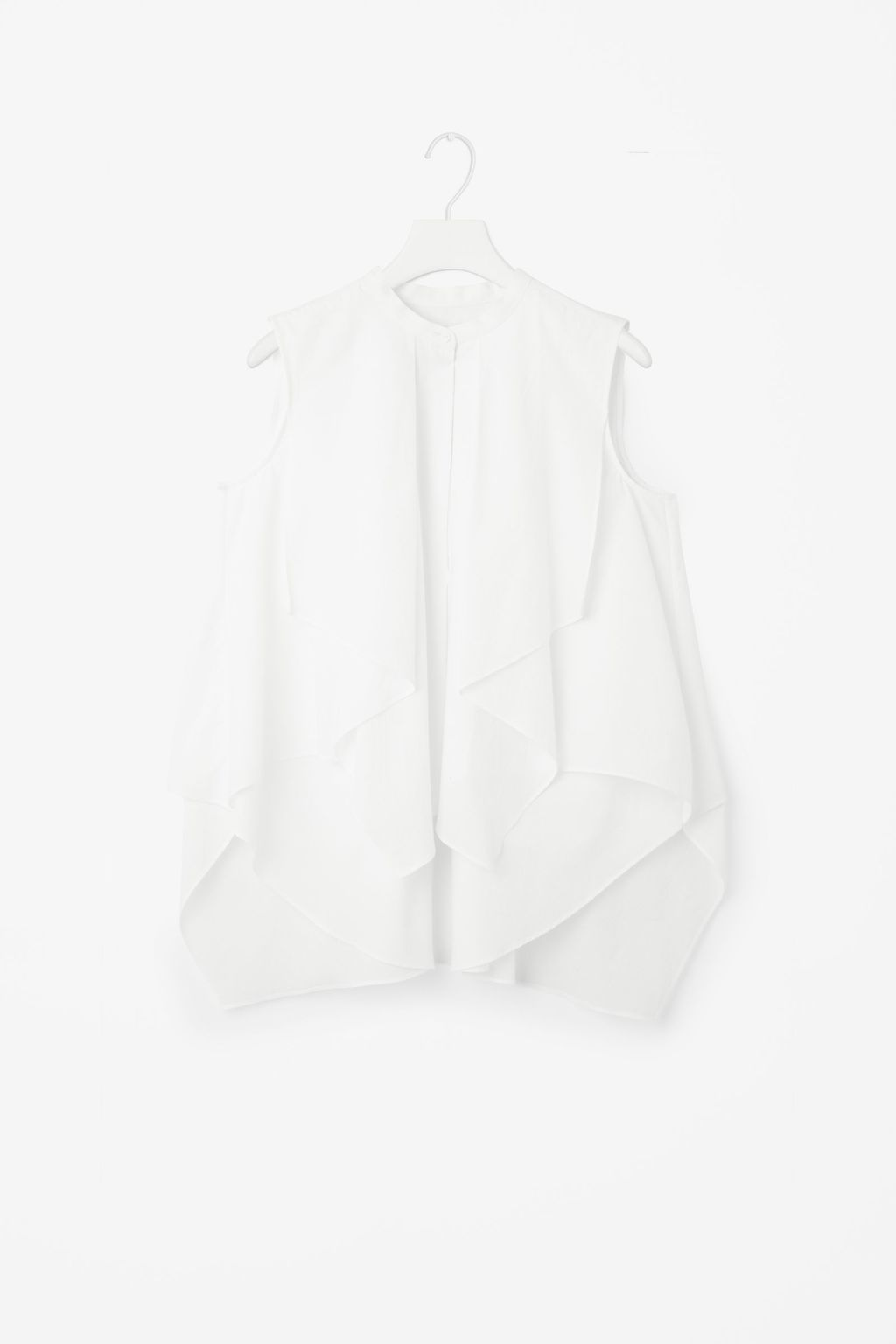 Blouse With Draped Layers - neckline: round neck; pattern: plain; sleeve style: sleeveless; style: blouse; predominant colour: white; occasions: casual, creative work; length: standard; fibres: cotton - 100%; fit: loose; sleeve length: sleeveless; pattern type: fabric; texture group: other - light to midweight; season: s/s 2016; wardrobe: basic