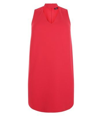 Curves Red Cut Out Tunic Dress - style: shift; neckline: v-neck; pattern: plain; sleeve style: sleeveless; predominant colour: true red; occasions: evening; length: just above the knee; fit: body skimming; fibres: polyester/polyamide - stretch; sleeve length: sleeveless; pattern type: fabric; texture group: jersey - stretchy/drapey; season: s/s 2016; wardrobe: event