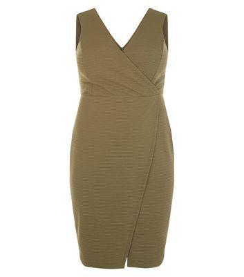 Curves Khaki Textured Wrap Dress - style: faux wrap/wrap; neckline: v-neck; pattern: plain; sleeve style: sleeveless; predominant colour: khaki; occasions: evening; length: just above the knee; fit: body skimming; fibres: polyester/polyamide - stretch; sleeve length: sleeveless; pattern type: fabric; texture group: jersey - stretchy/drapey; season: s/s 2016; wardrobe: event