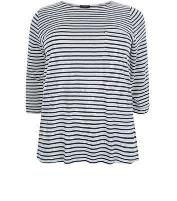 Curves Blue Stripe 3/4 Sleeve Top - pattern: horizontal stripes; predominant colour: white; secondary colour: black; occasions: casual; length: standard; style: top; fibres: cotton - 100%; fit: body skimming; neckline: crew; sleeve length: 3/4 length; sleeve style: standard; pattern type: fabric; pattern size: standard; texture group: jersey - stretchy/drapey; multicoloured: multicoloured; season: s/s 2016; wardrobe: basic