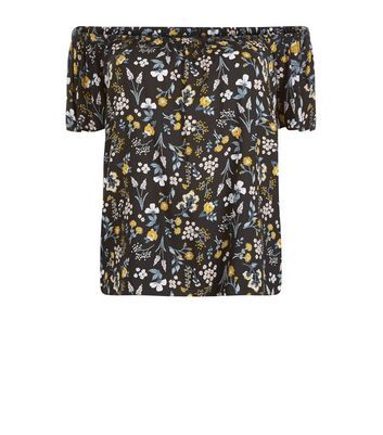Curves Black And Yellow Floral Print Bardot Neck Top - neckline: off the shoulder; secondary colour: light grey; predominant colour: black; occasions: casual; length: standard; style: top; fibres: viscose/rayon - 100%; fit: body skimming; sleeve length: short sleeve; sleeve style: standard; pattern type: fabric; pattern: florals; texture group: woven light midweight; pattern size: big & busy (top); multicoloured: multicoloured; season: s/s 2016; wardrobe: highlight