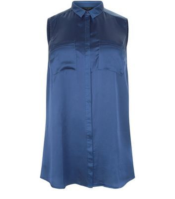 Curves Blue Satin Sleeveless Shirt - neckline: shirt collar/peter pan/zip with opening; pattern: plain; sleeve style: sleeveless; style: shirt; predominant colour: navy; occasions: casual; length: standard; fibres: polyester/polyamide - 100%; fit: body skimming; sleeve length: sleeveless; texture group: structured shiny - satin/tafetta/silk etc.; pattern type: fabric; season: s/s 2016; wardrobe: basic