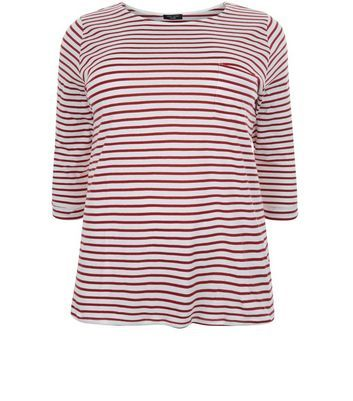 Curves Red Stripe 3/4 Sleeve Top - pattern: horizontal stripes; style: t-shirt; predominant colour: white; secondary colour: burgundy; occasions: casual; length: standard; fibres: cotton - 100%; fit: body skimming; neckline: crew; sleeve length: half sleeve; sleeve style: standard; pattern type: fabric; texture group: jersey - stretchy/drapey; multicoloured: multicoloured; season: s/s 2016; wardrobe: highlight