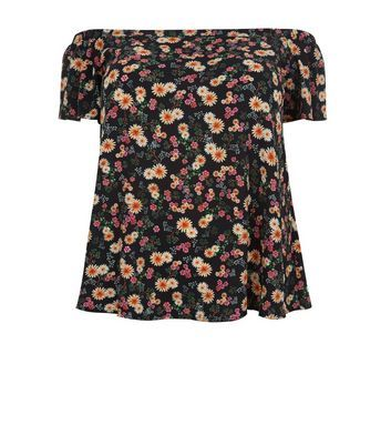 Curves Black Floral Print Bardot Neck Top - neckline: off the shoulder; secondary colour: coral; predominant colour: black; occasions: casual; length: standard; style: top; fibres: polyester/polyamide - stretch; fit: body skimming; sleeve length: short sleeve; sleeve style: standard; pattern type: fabric; pattern: florals; texture group: jersey - stretchy/drapey; pattern size: big & busy (top); multicoloured: multicoloured; season: s/s 2016