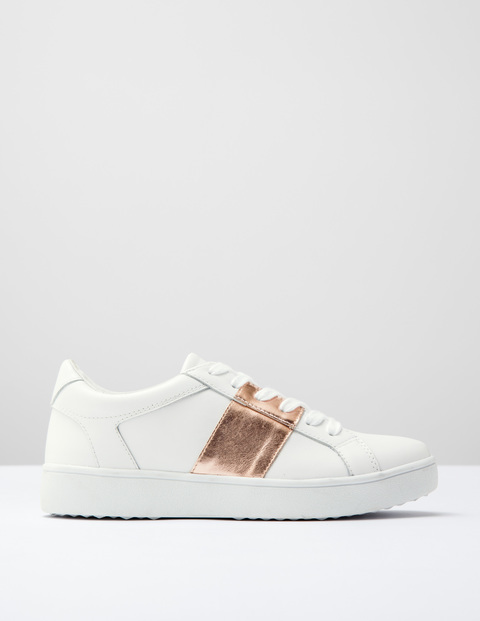 Stripe Trainer White/Rose Gold Leather Women, White/Rose Gold Leather - predominant colour: white; secondary colour: gold; occasions: casual, creative work; material: leather; heel height: flat; toe: round toe; style: trainers; finish: plain; pattern: colourblock; season: s/s 2016; wardrobe: highlight