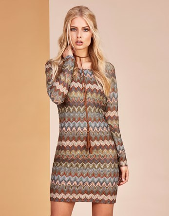 Crochet Long Sleeves Dress - style: shift; length: mid thigh; neckline: round neck; secondary colour: terracotta; predominant colour: chocolate brown; occasions: evening; fit: body skimming; fibres: polyester/polyamide - mix; sleeve length: long sleeve; sleeve style: standard; pattern type: fabric; pattern: patterned/print; texture group: other - light to midweight; multicoloured: multicoloured; season: s/s 2016; wardrobe: event