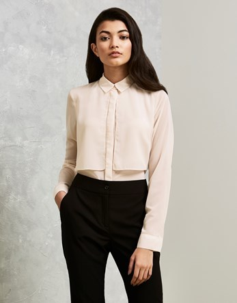 Double Layered Shirt - neckline: shirt collar/peter pan/zip with opening; pattern: plain; style: shirt; bust detail: subtle bust detail; predominant colour: ivory/cream; occasions: casual, work, creative work; length: standard; fibres: polyester/polyamide - 100%; fit: body skimming; sleeve length: long sleeve; sleeve style: standard; pattern type: fabric; texture group: other - light to midweight; season: s/s 2016; wardrobe: basic