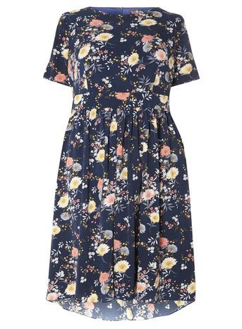 Floral Dress - length: below the knee; neckline: round neck; predominant colour: navy; secondary colour: primrose yellow; occasions: casual, creative work; fit: fitted at waist & bust; style: fit & flare; fibres: polyester/polyamide - 100%; sleeve length: short sleeve; sleeve style: standard; pattern type: fabric; pattern: florals; texture group: other - light to midweight; multicoloured: multicoloured; season: s/s 2016; wardrobe: highlight
