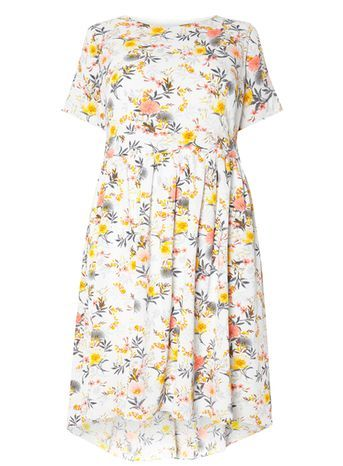 Floral Dress - style: tea dress; neckline: round neck; predominant colour: white; secondary colour: yellow; occasions: casual; length: just above the knee; fit: soft a-line; fibres: polyester/polyamide - 100%; sleeve length: short sleeve; sleeve style: standard; texture group: cotton feel fabrics; pattern type: fabric; pattern: florals; season: s/s 2016; wardrobe: highlight