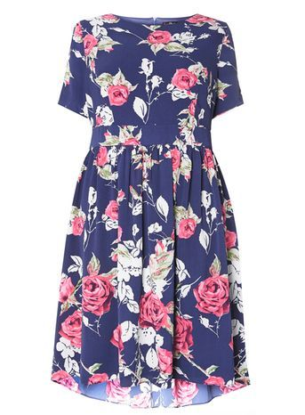 Floral Print Dress - style: tea dress; neckline: round neck; predominant colour: royal blue; secondary colour: coral; occasions: casual, creative work; length: just above the knee; fit: soft a-line; fibres: polyester/polyamide - 100%; sleeve length: short sleeve; sleeve style: standard; pattern type: fabric; pattern: florals; texture group: jersey - stretchy/drapey; season: s/s 2016; wardrobe: highlight