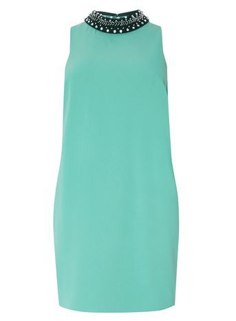 Green Shift Dress - style: shift; pattern: plain; sleeve style: sleeveless; neckline: high neck; predominant colour: turquoise; secondary colour: black; occasions: evening; length: just above the knee; fit: straight cut; fibres: polyester/polyamide - 100%; sleeve length: sleeveless; pattern type: fabric; texture group: other - light to midweight; embellishment: beading; season: s/s 2016; wardrobe: event