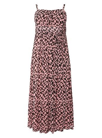 Abstract Maxi Dress - sleeve style: spaghetti straps; fit: empire; style: maxi dress; length: ankle length; neckline: sweetheart; predominant colour: pink; secondary colour: black; occasions: casual; fibres: polyester/polyamide - 100%; sleeve length: sleeveless; pattern type: fabric; pattern size: standard; pattern: patterned/print; texture group: other - light to midweight; season: s/s 2016; wardrobe: highlight