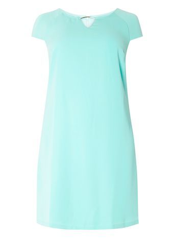 Green Detail Shift Dress - style: shift; length: mid thigh; neckline: round neck; pattern: plain; predominant colour: turquoise; occasions: casual; fit: body skimming; fibres: polyester/polyamide - 100%; sleeve length: short sleeve; sleeve style: standard; pattern type: fabric; texture group: other - light to midweight; season: s/s 2016; wardrobe: highlight