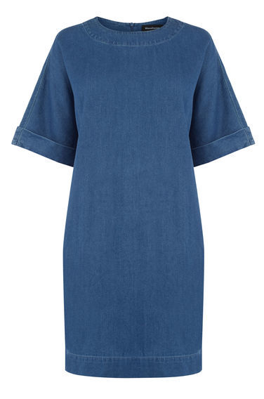 Denim Shift Dress - style: shift; pattern: plain; predominant colour: denim; occasions: casual; length: just above the knee; fit: body skimming; fibres: cotton - 100%; neckline: crew; sleeve length: short sleeve; sleeve style: standard; texture group: denim; pattern type: fabric; season: s/s 2016; wardrobe: basic