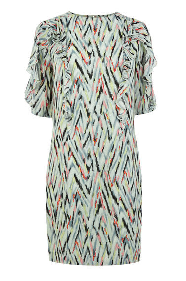 Zig Zag Print Ruffle Dress - style: shift; predominant colour: ivory/cream; secondary colour: black; occasions: evening; length: just above the knee; fit: body skimming; fibres: cotton - mix; neckline: crew; sleeve length: half sleeve; sleeve style: standard; pattern type: fabric; pattern: patterned/print; texture group: woven light midweight; multicoloured: multicoloured; season: s/s 2016; wardrobe: event