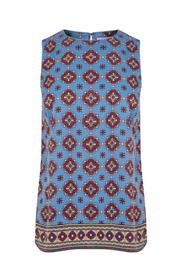 Tile Print Shell Top - sleeve style: sleeveless; style: vest top; secondary colour: burgundy; predominant colour: pale blue; occasions: casual; length: standard; fibres: polyester/polyamide - 100%; fit: body skimming; neckline: crew; sleeve length: sleeveless; pattern type: fabric; pattern: patterned/print; texture group: other - light to midweight; multicoloured: multicoloured; season: s/s 2016; wardrobe: highlight