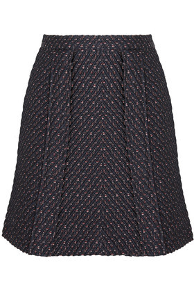 Bouclé Tweed Mini Skirt Navy - length: mid thigh; fit: body skimming; waist: high rise; pattern: herringbone/tweed; predominant colour: navy; occasions: casual; style: mini skirt; fibres: polyester/polyamide - mix; hip detail: subtle/flattering hip detail; pattern type: fabric; texture group: tweed - bulky/heavy; pattern size: standard (bottom); season: s/s 2016; wardrobe: highlight