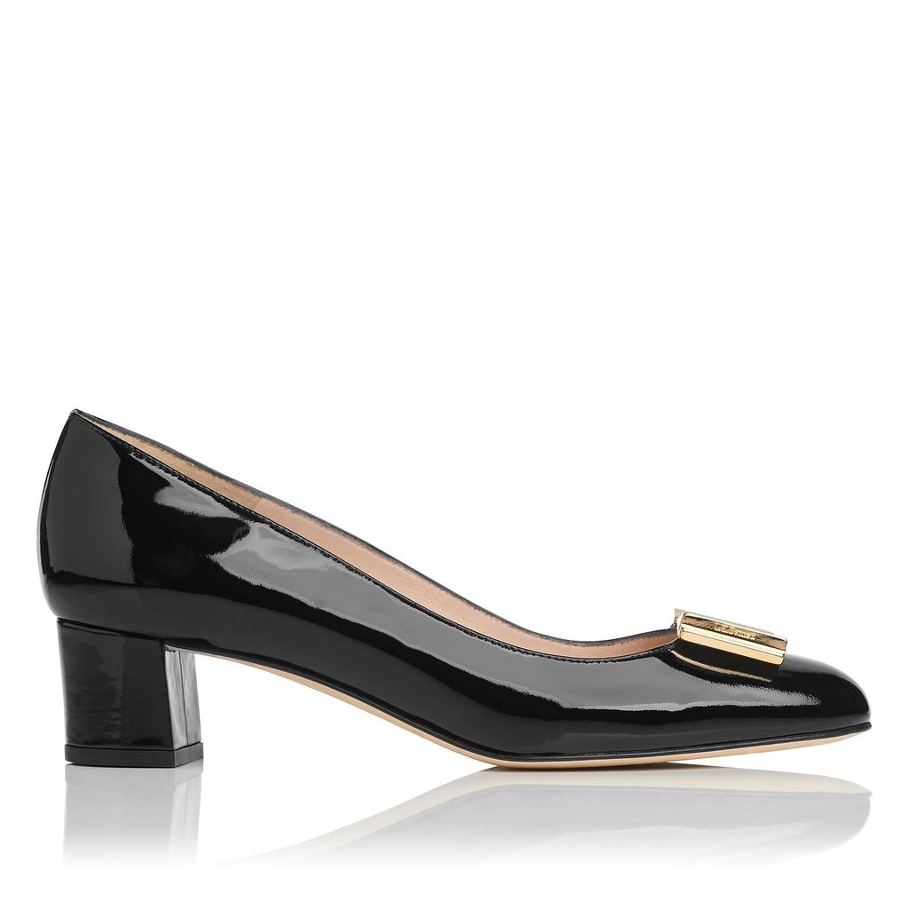 Emelia Black Patent Closed Courts Black - predominant colour: black; occasions: evening; material: leather; heel height: mid; heel: block; toe: round toe; style: courts; finish: patent; pattern: plain; season: s/s 2016; wardrobe: event