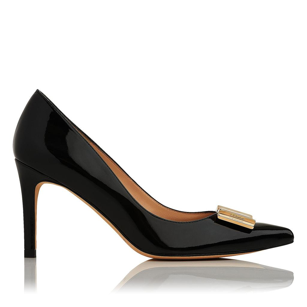 Ella Black Patent Courts Black - predominant colour: black; occasions: evening; material: leather; heel height: high; heel: stiletto; toe: pointed toe; style: courts; finish: patent; pattern: plain; season: s/s 2016; wardrobe: event