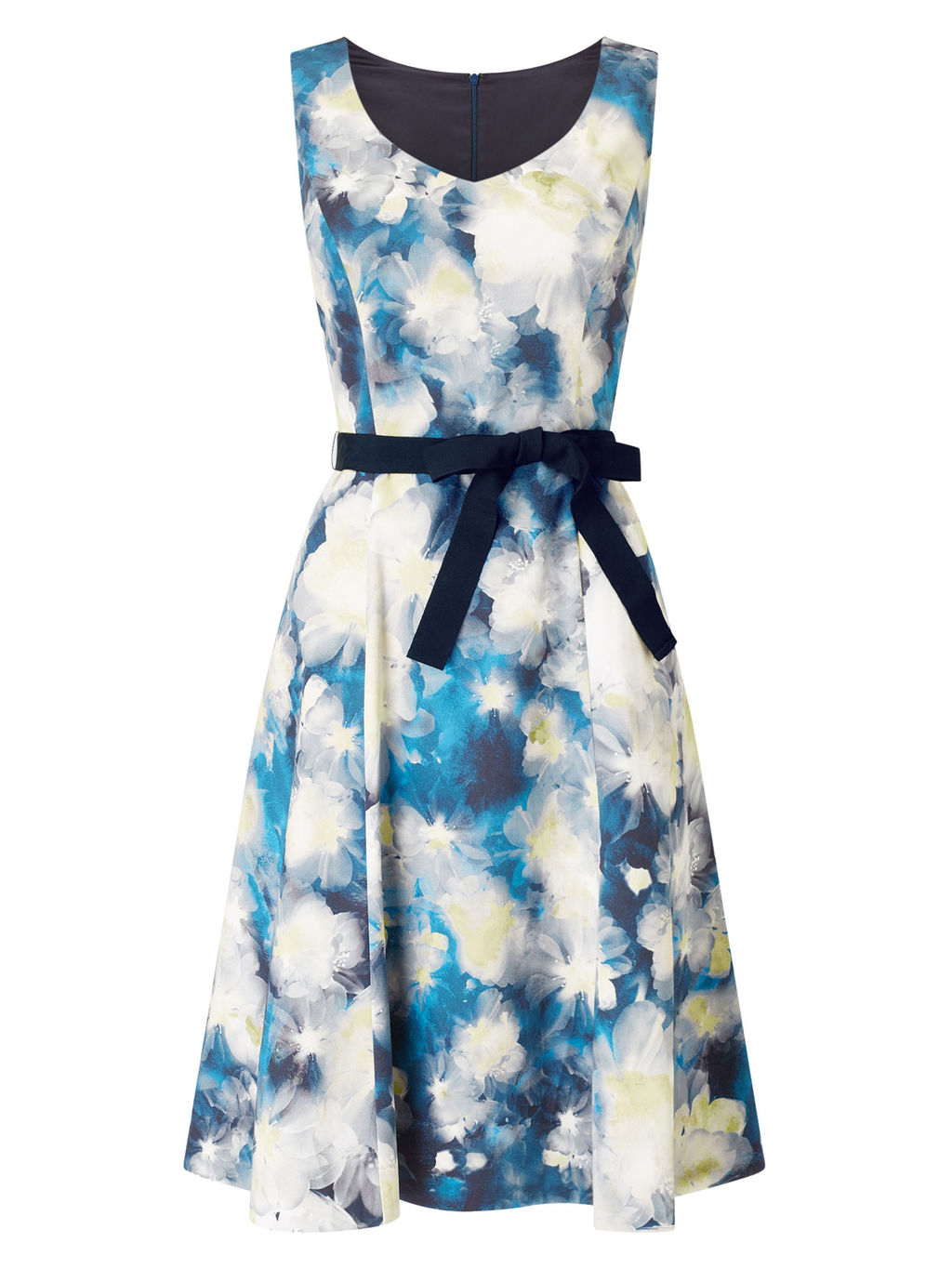 Blurred Print Prom Shape - neckline: v-neck; sleeve style: sleeveless; style: full skirt; waist detail: belted waist/tie at waist/drawstring; secondary colour: white; predominant colour: diva blue; occasions: evening; length: on the knee; fit: fitted at waist & bust; fibres: cotton - stretch; sleeve length: sleeveless; pattern type: fabric; pattern size: big & busy; pattern: patterned/print; texture group: woven light midweight; multicoloured: multicoloured; season: s/s 2016; wardrobe: event